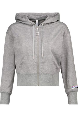 Adam Selman Sport Cropped metallic jersey hoodie