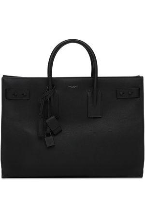 Saint Laurent Mænd Stofposer - Logo Leather Tote Bag