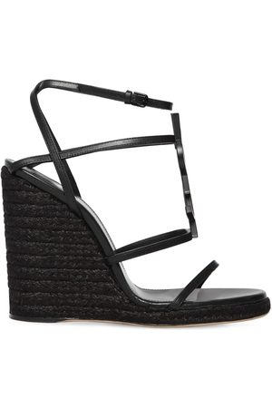Saint Laurent Kvinder Kilehæle - 105mm Cassandra Leather Espadrille Wedge