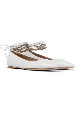 Gianvito Rossi Angie embellished leather ballet flats