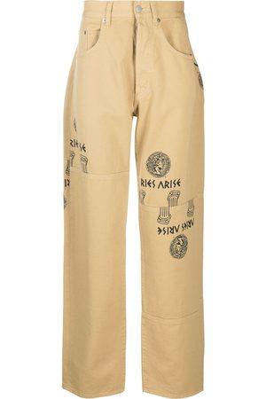 ARIES Mænd Straight - Logo graphic print straight-leg jeans