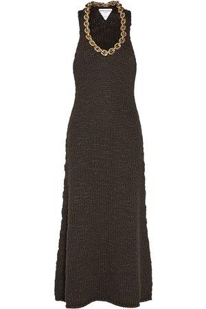 Bottega Veneta Wool Knit Sleeveless Midi Dress W/chain