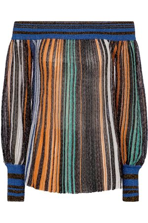 Missoni Metallic striped off-the-shoulder top