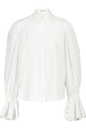 Alaïa Laser-cut cotton-poplin shirt