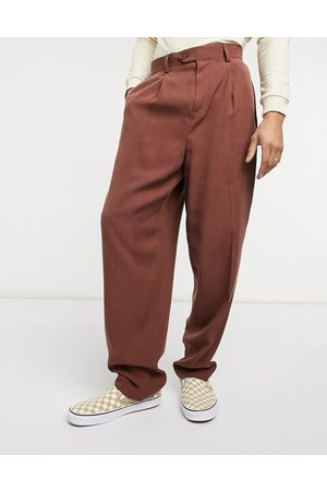 ASOS Smarte slim-bukser i twill med høj talje-Tan