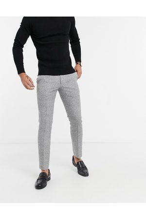 Moss Bros Moss London - Slimfit-bukser i sort- og hvidternet
