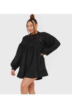 In The Style X Lorna Luxe - Smock-minikjole i med voluminøse ærmer og knapper foran