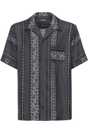 Dolce & Gabbana Geometric Print Silk Bowling Shirt