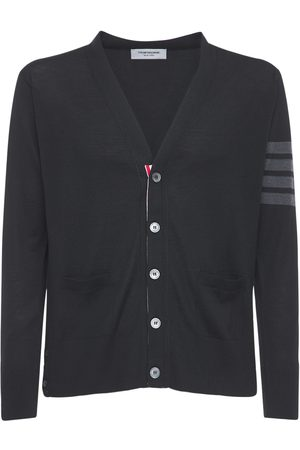Thom Browne Intarsia Stripes Wool Cardigan