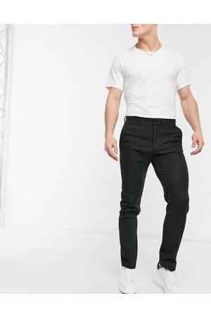 ASOS Skinny-habitbukser i uldblanding med brunt sildebensmønster