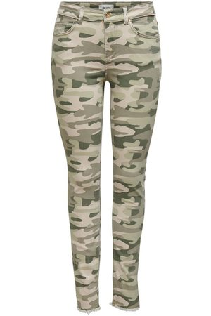 Only Onlblush Life Mid Sk Raw Ank Camo Mid-rise Jeans Kvinder Beige