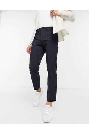 ASOS Elegante marineblå skinny-bukser i ankellængde med pintuck