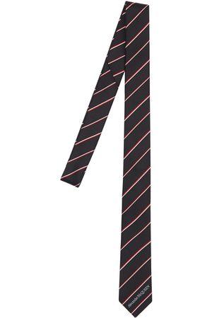 Alexander McQueen Mænd Slips - 50mm Logo Striped Silk Tie