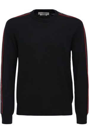 Alexander McQueen Logo Tape Wool Knit Sweater
