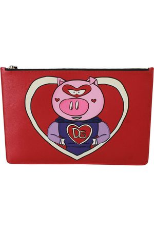 Dolce & Gabbana Mænd Punge - Red Year of the Pig Leather Documents Pouch