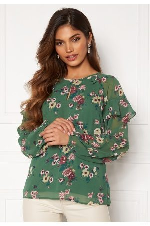 Happy Holly Kvinder Casual - Becky blouse Green / Patterned 36/38