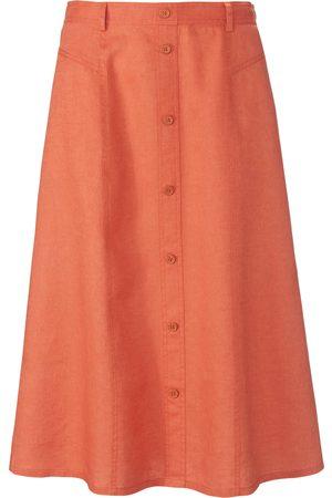 Peter Hahn Kvinder Nederdele - Nederdel elastisk linning i 100% hør Fra orange