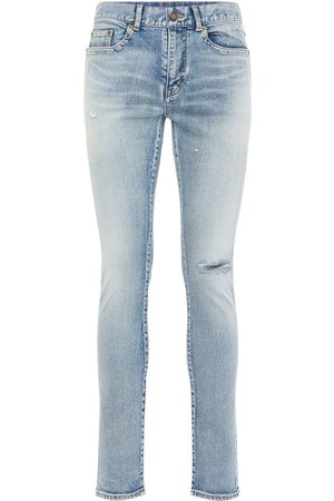 Saint Laurent 15cm Skinny Low Waist Cotton Denim Jeans