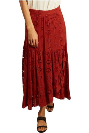 LA PETITE FRANCAISE Juponnée english embroidery long skirt