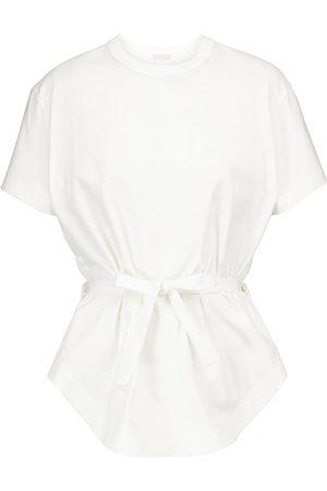 Alaïa Kvinder Kortærmede - Peplum cotton T-shirt