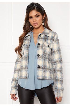 Only Kvinder Sommerjakker - Lou Short Check Jacket Pumice Stone S