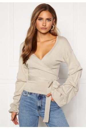 BUBBLEROOM Maggie knitted wrap top Light L