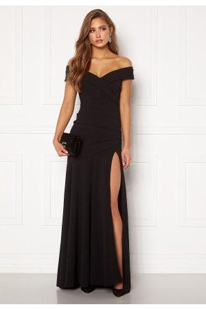 Goddiva Bardot Pleat Maxi Split Dress Black M (UK12)