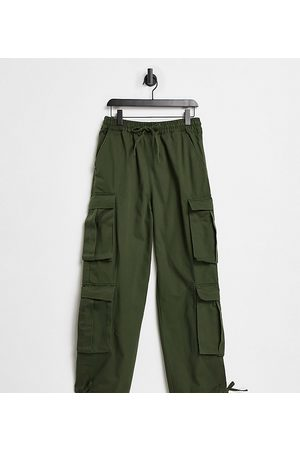 COLLUSION Unisex - Lavtaljede, løstsiddende utility-bukser i kakifarve-Grøn