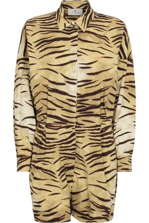 Etro Tiger-print cotton playsuit
