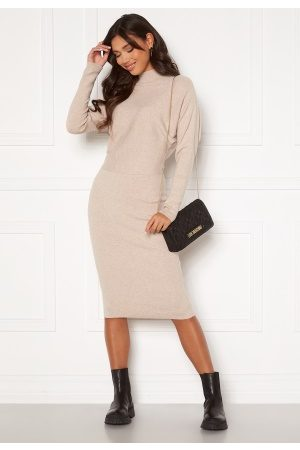 Vila Elasta 3/4 Sleeve Knit Dress Natural Melange M
