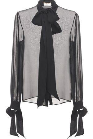 Saint Laurent Silk Crepe Muslin Shirt W/ Bow Collar