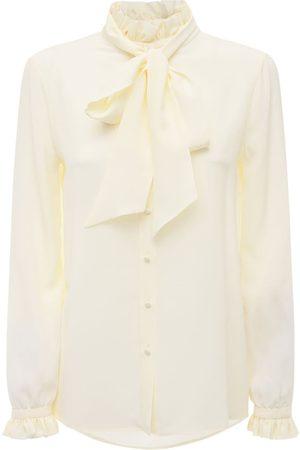 Saint Laurent Kvinder Langærmede - Silk Crepe De Chine Shirt W/bow Collar