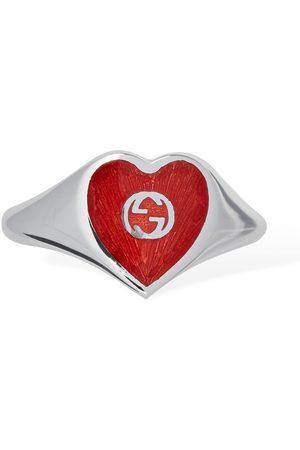 Gucci Interlocking G Enamel Heart Ring