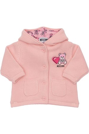 Moschino Piger Cardigans - Hooded Cotton Knit Cardigan W/ Ears