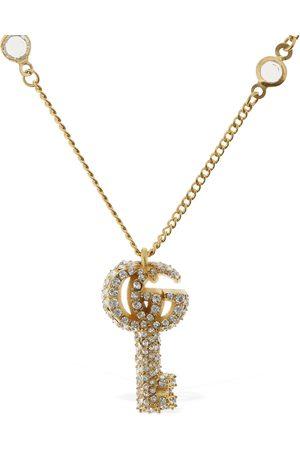 Gucci Kvinder Halskæder - Double G Key Necklace W/ Crystals