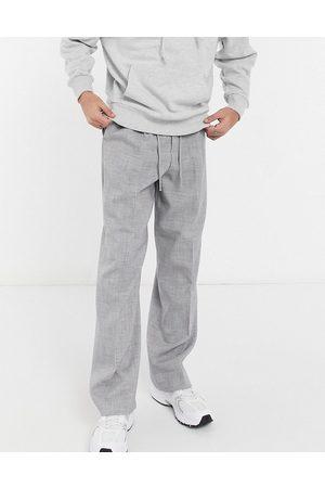 ASOS Elegante joggingbukser med vide ben i gråt crosshatch-mønster