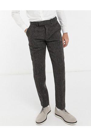 ASOS Brune smalle habitbukser i harris tweed 100% uld i sildebensmønster