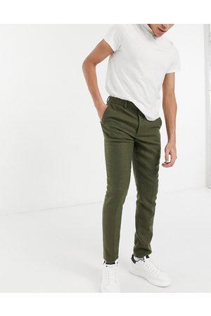 ASOS Kakifarvede skinny-habitbukser i uldblandet twill-Grøn