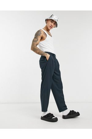 ASOS Marineblå oversized taperede elegante bukser