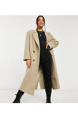 ASOS Petite - Longline-frakke i lysebrun twill-Sort