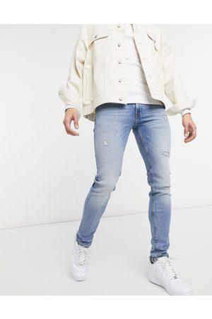 jack & jones Intelligence - Liam - Lyseblå skinny-jeans med flænger