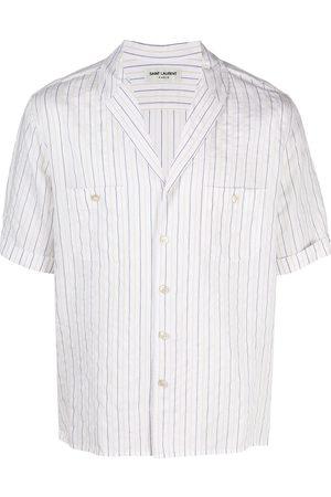 Saint Laurent Stribet skjorte med korte ærmer