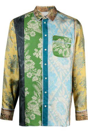PIERRE-LOUIS MASCIA Aloe silkeskjorte med patchwork-tryk