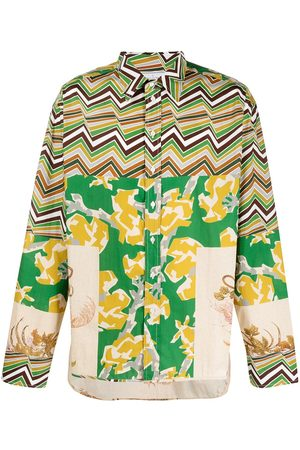 PIERRE-LOUIS MASCIA Langærmede - Razzoli skjorte med patchwork-tryk