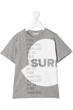 Moncler Drenge Kortærmede - T-shirt med surfer-logotryk