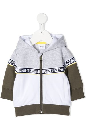 HUGO BOSS Logo-trim colour-block zip-up hoodie