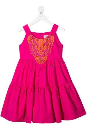 Alberta Ferretti Macramé embroidered flared dress