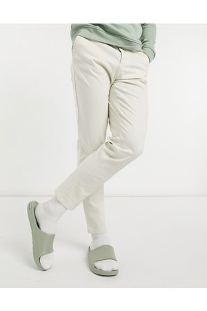 ASOS DESIGN Tapered chinos i lys beige