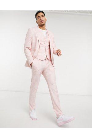 ASOS DESIGN Wedding - Skinny habitbukser i pastelpink crosshatch-Lyserød