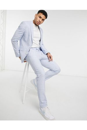 ASOS DESIGN Wedding - Skinny habitbukser i pastelblåt krydshægtet mønster